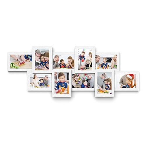 Songmics Bilderrahmen Collage für 10 Fotos je 10 x 15 cm Fotorahmen aus MDF-Platten weiß RPF21W