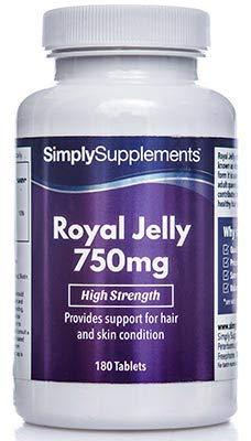 Gelée Royale 750mg - 180 Tabletten - Versorgung für bis zu 3 Monaten - fördert das Erscheinungsbild gesunder Haut - Simply Supplements
