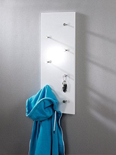 HAKU Möbel 42390 Wandgarderobe 80 x 5,5 x 30 cm, weiß / chrom / nickel
