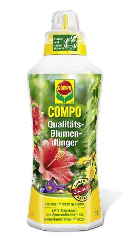 COMPO Qualitäts-Blumendünger für alle Pflanzen im Zimmer, auf Balkon und Terrasse, Spezial-Flüssigdünger mit extra Magnesium, 1 Liter