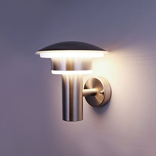 NBHANYUAN Lighting LED Außenlampe/Wandlampe Silber Edelstahl Aussenwandleuchten 3000K Warmweiß Licht 220-240V 1000LM 9W IP44 (ohne PIR Sensor)