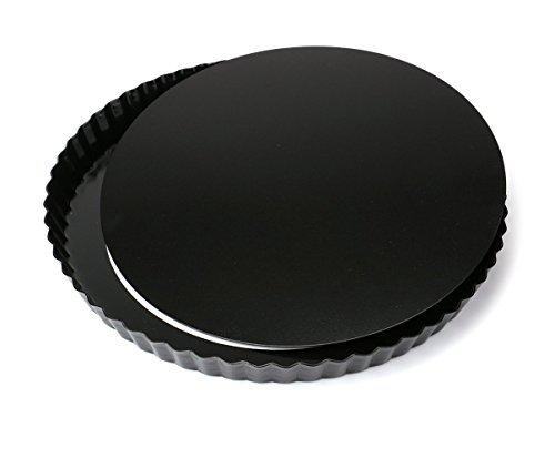 Tebery 2 Stück 28 cm Quicheform mit entfernbarem, Delicious gute Antihaftbeschichtung Tortenform Boden, Kuchenform Rund Quiche Tarte Form zum Backen