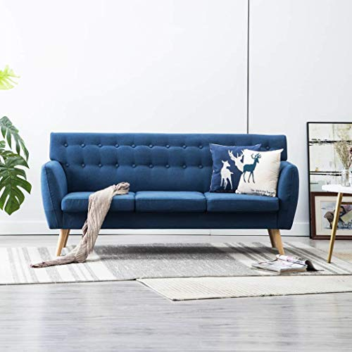 Festnight 3-Sitzer-Sofa | 3er Stoff Couch | Wohnzimmer Stoffsofa | Polstersofa | Loungesofa | Blau Stoffbezug mit MDF-Rahmen 172x70x82 cm