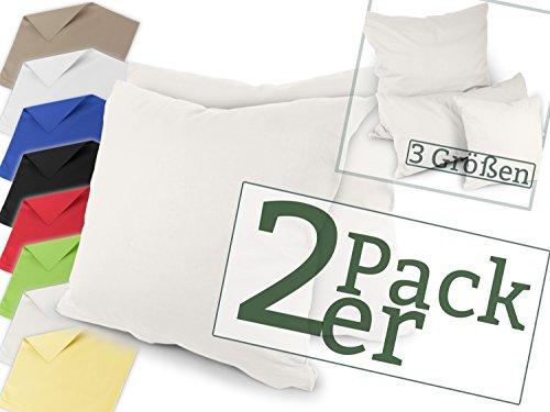 Renforcé-Kissenbezüge im Doppelpack - 100% Baumwolle – schlicht und edel im Design, in 8 Uni-Farben, 40 x 40 cm, ecru