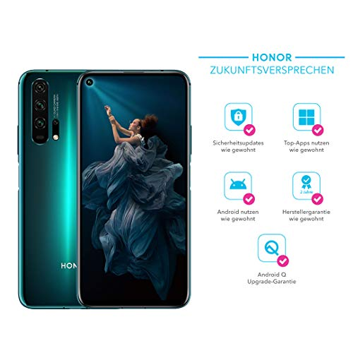HONOR 20 Pro Dual-SIM Smartphone Bundle (6,26 Zoll, 256GB ROM, 8GB RAM, Android 9.0) Phantom Blue + 48MP AI Quad Kamera + gratis MicroUSB zu USB Typ-C Adapter [Exklusiv bei Amazon] - Deutsche Version