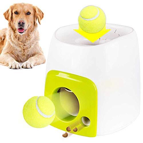 Hamkaw Interaktive Ballwerfer für Hunde, Ballwerfer mit 1 Tennisball, automatischer Tennisball Wurfmaschine für Welpen, interaktives Apportier-Spielzeug, für IQ-Training
