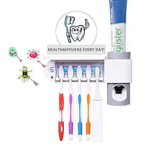 Yuede Automatisch Zahnpastaspender und Zahnbürstenhalter Set mit Wand Montiert Art UV-Desinfektion Sterilisation Maschine Zahnbürstenhalter Geeignet für alle Arten von Zahnbürsten
