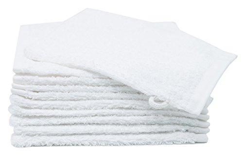 ZOLLNER 10er Set Waschlappen / Waschhandschuhe 16x21 cm weiß, direkt vom Hotelwäschespezialisten, Serie 'Amalfi'