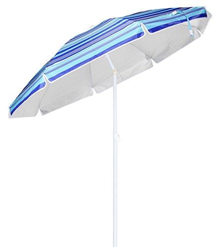 Alu Sonnenschirm mit 50+ UV Schutz - knickbarer Schirm mit 200 cm Durchmesser - Strandschirm mit stabilem Erdspieß Ø 3 cm