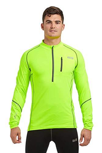 time to run Langarm-Thermoshirt Banff, Quick Dry Funktionsshirt Oberteil für Herren mit Reißverschluss am Ausschnitt L Lindgrün