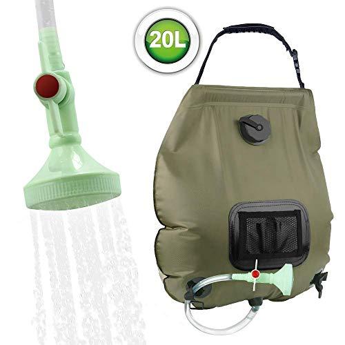 KIPIDA Campingdusche Solardusche 20L Duschsack Solar Heizung Camping Dusche Tasche mit Duschkopf & On-Off Switchable, Gartendusche Pooldusche Warmwasser Shower, Outdoor Camping Wandern Wassersack