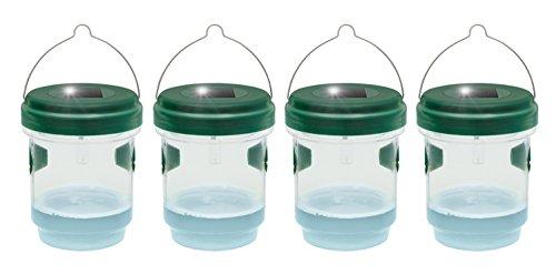 Gardigo 2in1 Mückenfalle und Wespenfalle 4er Set mit Solar Licht | LED Leuchte lockt Mücken an | Einfach mit Lockstoff füllen | Für Drinnen und Draußen
