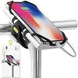 Bone Collection 2-in-1 Smartphone sowie Powerbank Halterung, Face ID kompatibel Fahrrad Handyhalterung für Vorbau Befestigung 4-6,5 Zoll Smartphones, Ultra leichtes Gewicht - Bike Tie Pro Pack Schwarz