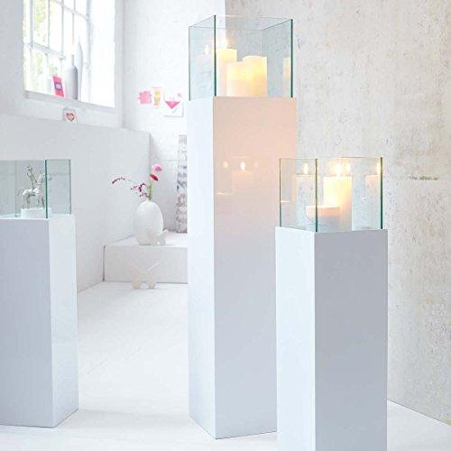 Windlicht-Säule hochglänzend outdoor Glas Kunstoff-Alluminium-Verbund