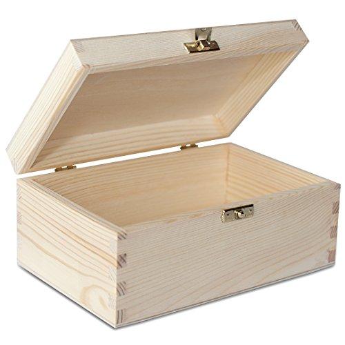 Creative Deco Holzkiste Holzbox mit Deckel | 21,5 x 13,8 x 10 cm | Holzschatulle, Schatzkiste, Kiefer Unbehandelt
