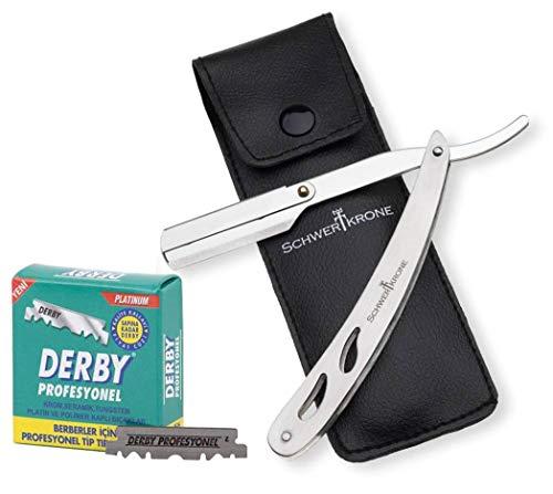Schwertkrone Rasiermesser Edelstahl + 100 halbe Derby Wechselklingen + Transporttasche | Rasiermesser Set Herren für Einsteiger & Fortgeschrittene