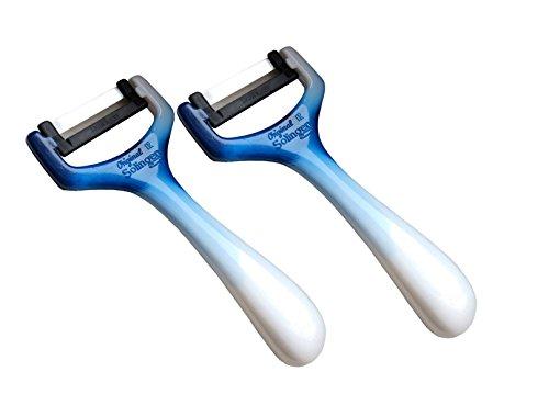 Pendelschäler Sparschäler Quer Spargelschäler Querschäler Aus Solingen / Schneidemesser / Gemüsehobel / Gemüseschäler Scharf Gurkenschäler Rechtshänder & Linkshänder (blau, 1)