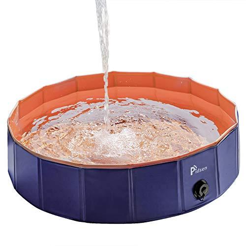 Pidsen Hundepool Swimmingpool PVC tragbare Faltbare Hunde Katzen Bad Wanne Badewanne Waschbad Haustier Schwimmbad Wasser Teich (80 * 20cm, Orange)