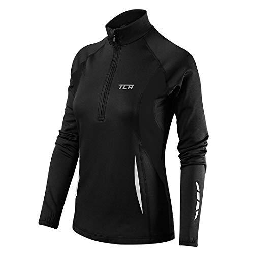 TCA Winter Run Damen Laufshirt mit kurzem Reißverschluss - Langarm - Schwarz, S