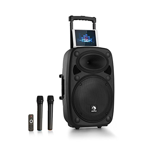 auna Streetstar 12-2.0 • mobile PA-Anlage • 12'-(30,5 cm) Subwoofer • Trolley • max. 800 Watt • Bluetooth • USB • SD • MP3 • AUX-In • UKW • 7.2 Ah-Akku • 2 x Funk Mikro • schwarz