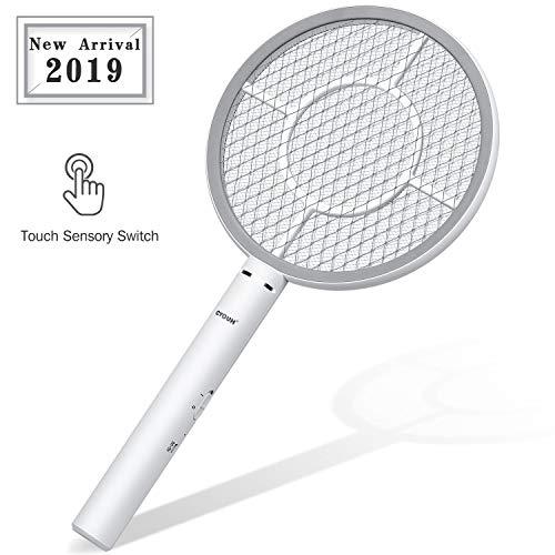 CYOUH Elektrische Fliegenklatsche Fliegenfänger Moskito Zapper/Insektenvernichter mit USB wiederaufladbar - Doppelte Schichten Mesh Schutz (Grau)