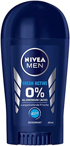 NIVEA MEN Fresh Active Deo Stift im 6er Pack (6 x 40 ml), Deo ohne Aluminium mit erfrischender Formel, Deodorant Stick mit 48h Schutz pflegt die Haut