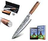 adelmayer -Profi Damastmesser 20cm extrem scharfe Klinge aus japanischem Damaststahl mit Walnussgriff und Wildledertuch