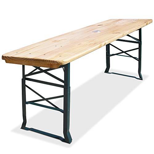 Deuba Bierzelttisch Stehtisch 170cm I Höhenverstellbar I Sonnenschirmhalter I Klappbar I Hoch Partytisch Biertisch Holz