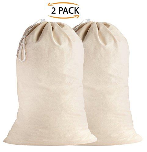 SweetNeedle - 2er Pack - 100% Baumwolle Extra große Heavy Duty Wäschebeutel in natürlicher Farbe - 71 CM x 91 CM (28 IN x 36 IN) - Sehr langlebig, Kordelzug mit Kordelzug, maschinenwaschbar und wiederverwendbar