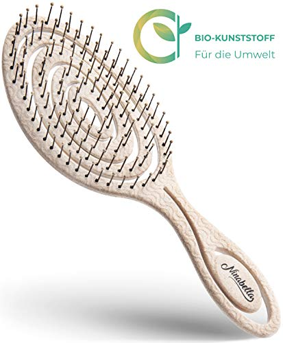 Ninabella Haarbürste gegen Ziepen, Haarbruch und Spliss - 29% Bio - Detangler für Damen, Herren und Kinder - Besonders sanfte Massagebürste