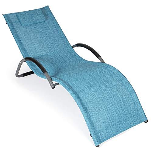 Park Alley Relaxliege, Bäderliege, Saunaliege, Poolliege - Alu Sonnenliege - Gartenliege für Garten, Terrasse oder Balkon - Wellnessliege mit Kissen in blau mélange