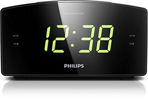 Philips AJ3400 Radiowecker (mit großem Display, Digital UKW, 2x Weckzeiten, Sleep-Timer) schwarz