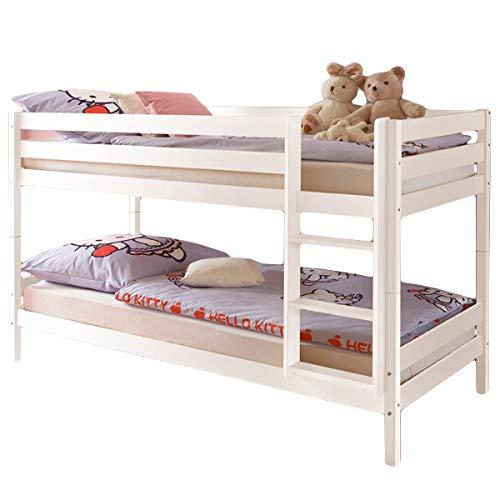 Jugendmöbel24.de Etagenbett Alain Kiefer massiv weiß EN 747-1 + 747-2 FSC-Zertifiziert teilbar zu 2 Einzelbetten Kinderbett Hochbett Stockbett