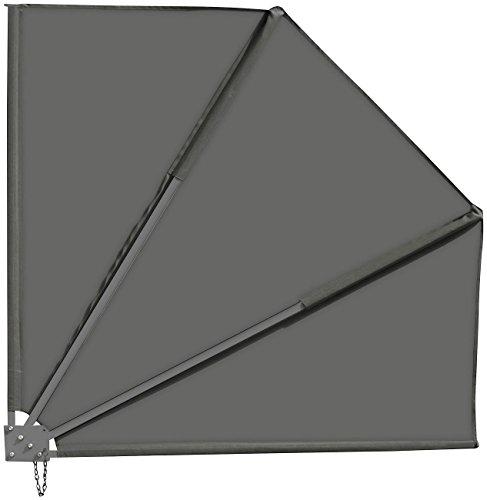 Royal Gardineer Balkonfächer: Sichtschutz-Fächer für Balkon, 140 x 140 cm, anthrazit (Sonnenfächer Balkon)