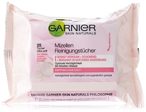 Garnier Mizellen Reinigungstücher 25er, 2er Pack (2 x 25 Stück)