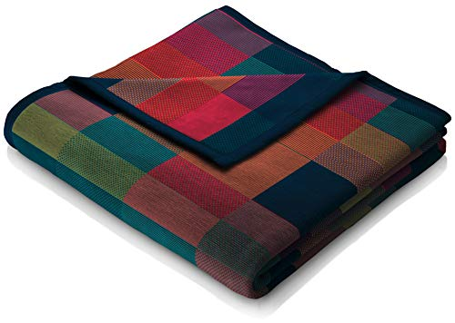 biederlack flauschig-weiche Kuschel-Decke I Made in Germany I Öko-Tex Standard 100 I nachhaltig produziert I Wohn-Decke 'Color Squares Blue' aus Baumwolle in grün-blau, Sofa-Decke in 150x200cm