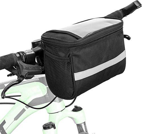 fbeurope Fahrrad Lenkertasche - Wasserdicht - Kühltasche mit Reflektionsstreifen - Handy, Karten oder Navi PVC Fach - Für Ausflüge, Geocaching, Outdoor und Sport