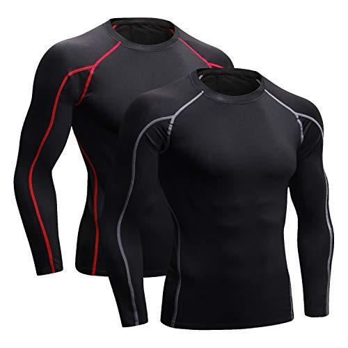 Niksa Funktionsshirt Herren Kurzarm Langarm 2 Stück Kompressionsshirt Männer Laufshirt Sportshirt mit Rundhalsausschnitt Fitness M