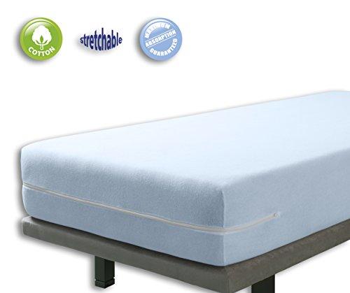 VELFONT – Frottee-Matratzenbezug aus 100% elastischer Baumwolle - Hellblaue - Matratzen-Höhe 15-25cm - verfügbar in verschiedenen Größen - 90x190/200cm
