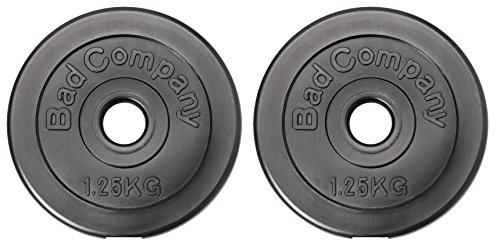 Bad Company Hantelscheiben Kunststoff ummantelt I 30/31 mm I 2,5 Kg Set (2 x 1,25 Kg)