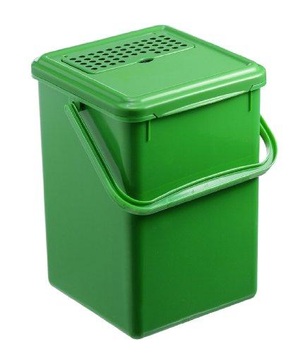 Rotho 483325 Komposteimer, Kunststoff, schwarz, 27.2 x 21.4 x 20.4 cm