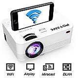 [WiFi Beamer] POYANK Beamer, Mini WiFi Projektor, Video Beamer unterstützt Airplay Miracast DLNA 1080P FHD, Verbindung mit Smartphone Tablet TV Stick Spielkonsole HDMI VGA USB, Heimkino Beamer, Weiß.