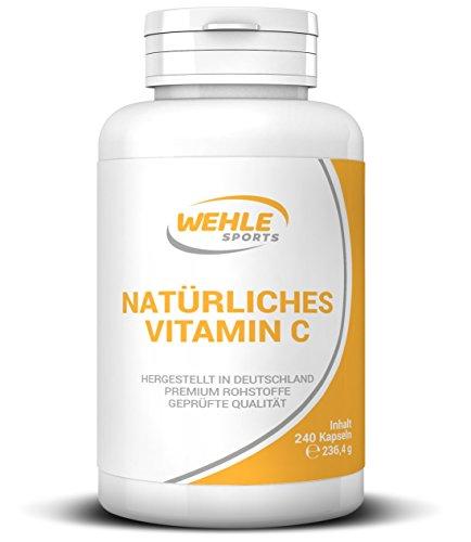 Vitamin C aus natürlichen Quellen 240 Kapseln Acerola-Extrakt und Hagebutten-Extrakt  400mg reines Vitamin C pro Tagesdosis (2 Kapseln) hergestellt in Deutschland  Wehle Sports 240 Kapseln