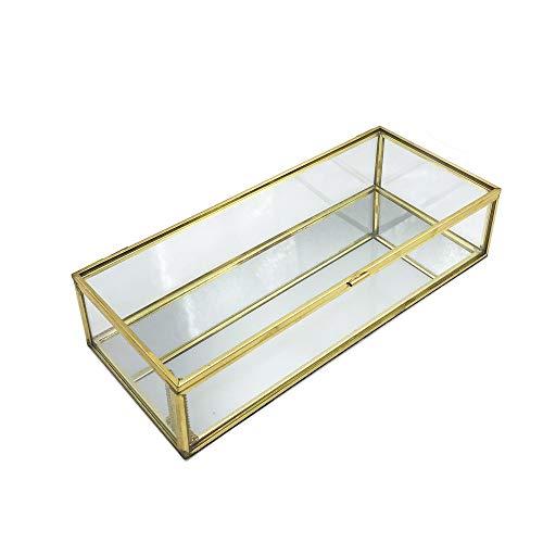 Schneespitze Glas Terrarium Box,Retro Transparent Schmuckschatulle aus Glas Dekorative Box,Gold Geometrisches Terrarium Box für Wohnzimmer, Schminktisch, Schlafzimmer Dekoration Lagerung