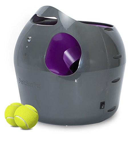 PetSafe Automatischer Ballwerfer, interaktive Ballwurfmaschine, wetterresistent, Sicherheitssensoren, mit Tennisbällen
