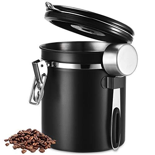 Kaffeedose, Kaffeedose Luftdicht, Kaffeebehälter, Kaffeedose Edelstahl Aromadose Vorratsdose Vakuum Dose für Kaffeebohnen, Pulver, Tee, Nüsse, Kakao (Schwarz, Durchmesser:13cm / Höhe:15cm)