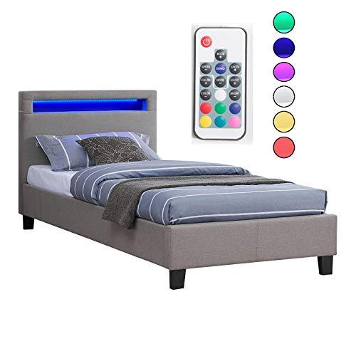 CARO-Möbel Polsterbett Himalaya mit LED Beleuchtung Einzelbett Jugendbett 90 x 200 cm mit Lattenrahmen, in grau Stoffbezug