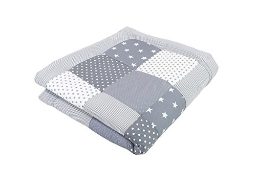 ULLENBOOM  Baby Krabbeldecke Graue Sterne (120x120 cm Baby Kuscheldecke, ideal als Laufgittereinlage, Spieldecke, Motiv: Punkte, Sterne, Patchwork)