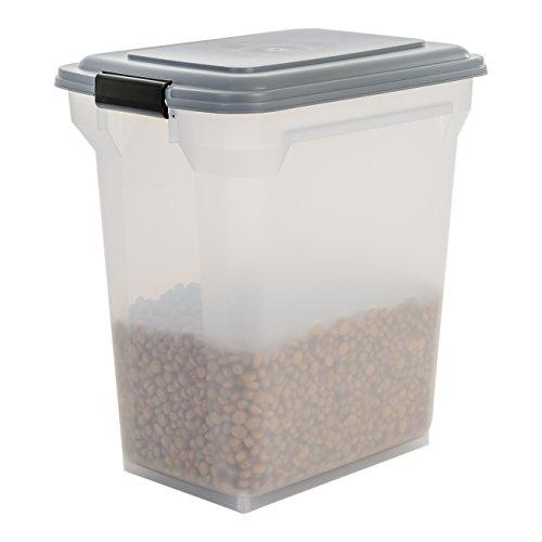 Iris luftdichte Futtertonne/Futtercontainer/Futterbehälter ATS-L, für Hundefutter, Kunststoff, transparent/grau, 45 Liter/15 kg