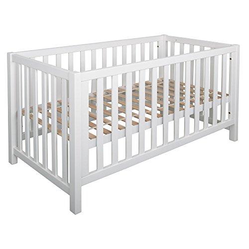 Betten-ABC Bubema Nils Babybett, umbaubar/Sofa, Buche Massiv Zwei Farben,ökologisch,Drei Größen- Qualität - Grösse 70x140 cm - Härtegrad Weiß Lackiert